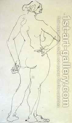 Female Nude with Hand on Hip by Henri Gaudier-Brzeska - Reproduction Oil Painting