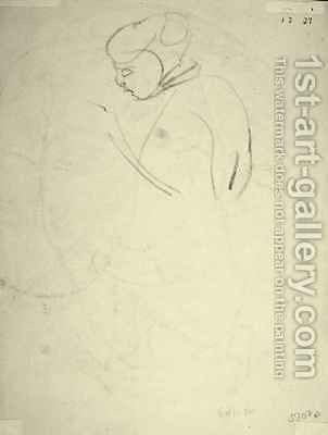 Study of a Woman looking down by Henri Gaudier-Brzeska - Reproduction Oil Painting