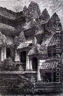 Angkor Wat showing the transition from the first to second floors by (after) Gauchards, J. - Reproduction Oil Painting