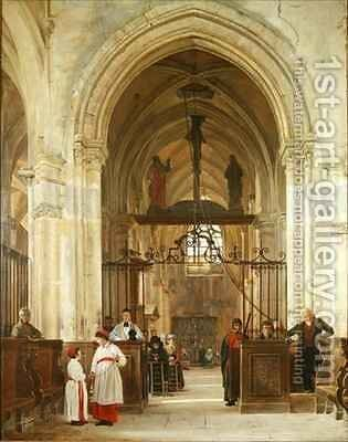 Interior of the Church of St Prix Valle de Montmorency by Jean Bruno Gassies - Reproduction Oil Painting