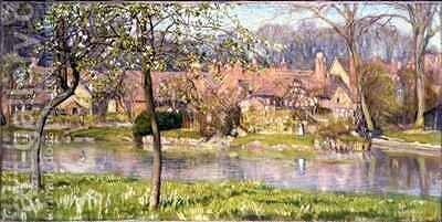 Houses and a River by Arthur Joseph Gaskin - Reproduction Oil Painting