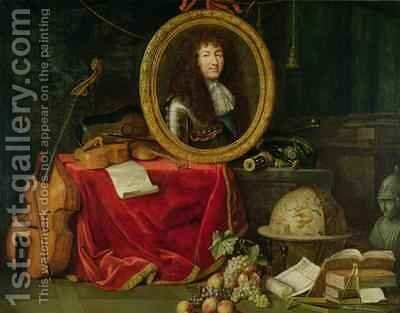 Still life with portrait of King Louis XIV 1638-1715 surrounded by musical instruments flowers and fruit by Jean Garnier - Reproduction Oil Painting