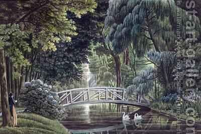 View of the Wooden Bridge on the River near the Statue of Diane from Views of Malmaison by Auguste Simon Garneray - Reproduction Oil Painting