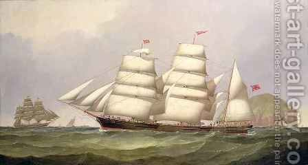 The barque Undaunted off Ailsa Craig with merchant ships beyond by C.H. Fyfe - Reproduction Oil Painting