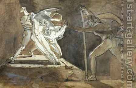Edgar Feigning Madness Approaches King Lear by Johann Henry Fuseli - Reproduction Oil Painting