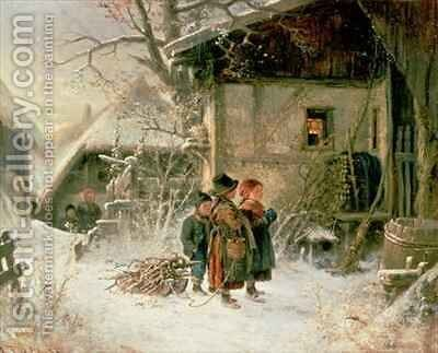 Children in the Snow by Bernard Frohlich - Reproduction Oil Painting