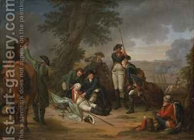 The Death of Field Marshal Schwerin at the Battle of Prague by Johann Christoph Frisch - Reproduction Oil Painting