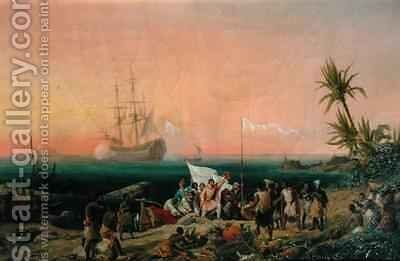 Jean de Bethencourt Norman Navigator discovering the island of Lanzarote in 1402 by Ambroise-Louis Garneray - Reproduction Oil Painting