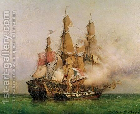 The Taking of the Kent by Robert Surcouf 1736-1827 in the Gulf of Bengal by Ambroise-Louis Garneray - Reproduction Oil Painting