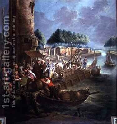 Canal scene with wine merchant unloading barrels by Jan-Anton Garemyn - Reproduction Oil Painting