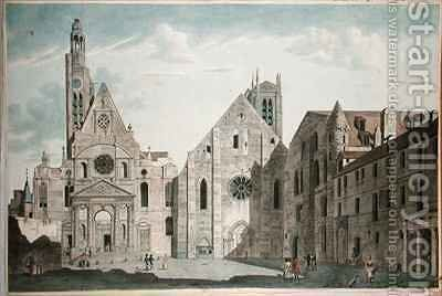Facades of the Churches of St Genevieve and St Etienne du Mont by (after) Garbizza, Angelo - Reproduction Oil Painting
