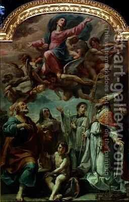 Madonna in Glory with Saints by Ubaldo Gandolfi - Reproduction Oil Painting