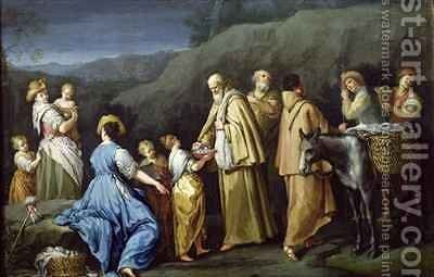 Young Girl Offering Eggs to a Group of Monks by Giuseppe Gambarini - Reproduction Oil Painting