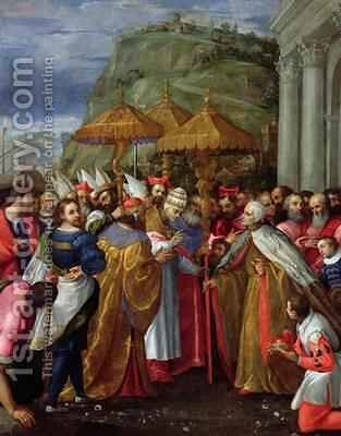 Pope Alexander III Emperor Frederick Barbarossa and Doge Sebastiano Ziani Arrive at Ancona by Girolamo Gambarato - Reproduction Oil Painting