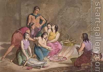 Aztec women making maize bread Mexico from Le Costume Ancien et Moderne by Gallo Gallina - Reproduction Oil Painting