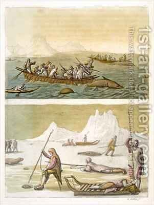 Greenland Whale fishing and Seal hunting by Gallo Gallina - Reproduction Oil Painting