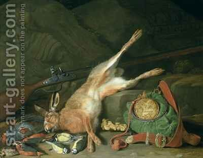 Still Life of a Hare with Hunting Equipment by Hieronymus Galle I - Reproduction Oil Painting