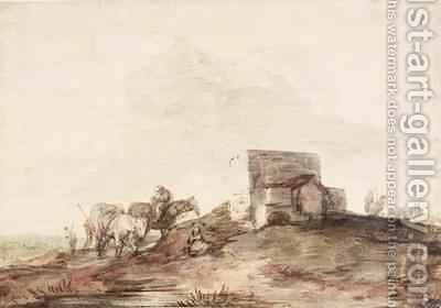 Open Landscape with a Building and Horses and Riders Resting by a Pool by Thomas Gainsborough - Reproduction Oil Painting
