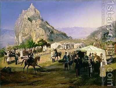The Summer Camp of the Regiment of Nizhegorodsky Dragoons near Karagach by Grigori Grigorevich Gagarin - Reproduction Oil Painting