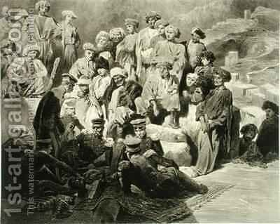 Military Meal in the Ruins at Sioukh Dagestan plate 69 from a book on the Caucasus by (after) Gagarin, Grigori Grigorevich - Reproduction Oil Painting