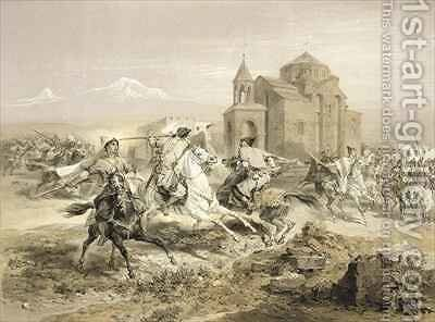 Skirmish of Persians and Kurds in Armenia by (after) Gagarin, Grigori Grigorevich - Reproduction Oil Painting