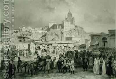 The Bazaar in Maidan Square Tiflis Georgia by (after) Gagarin, Grigori Grigorevich - Reproduction Oil Painting