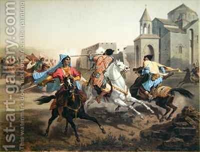 Skirmish of Persians and Kurds in Armenia 2 by (after) Gagarin, Grigori Grigorevich - Reproduction Oil Painting