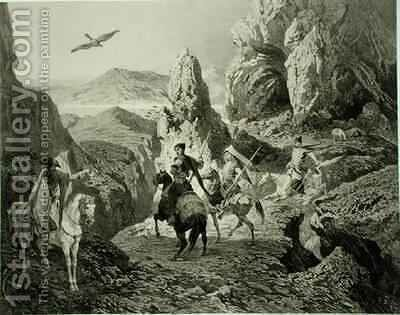 A Falcon Hunt near Yerevan Armenia by (after) Gagarin, Grigori Grigorevich - Reproduction Oil Painting