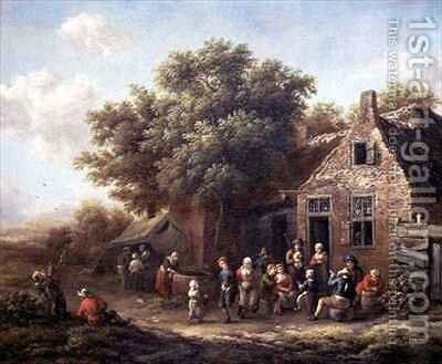 Peasants Merry Making outside an Inn by Barend Gael or Gaal - Reproduction Oil Painting