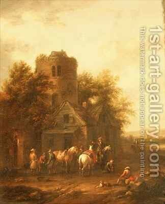 Riders Watering their Horses Outside a Tavern by Barend Gael or Gaal - Reproduction Oil Painting