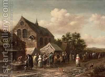 Poultry Market by a Church by Barend Gael or Gaal - Reproduction Oil Painting