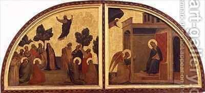 The Ascension and the Annunciation lunette by Taddeo Gaddi - Reproduction Oil Painting
