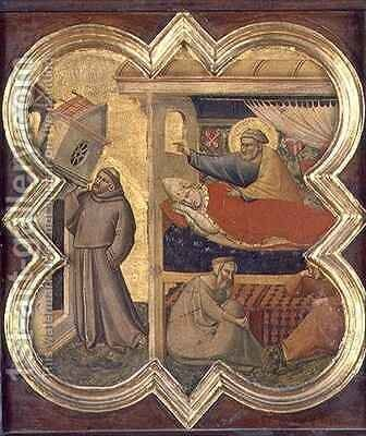 St Francis holding up the Lateran Church by Taddeo Gaddi - Reproduction Oil Painting