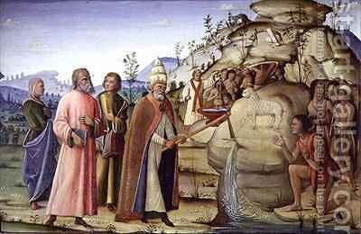 St Clement Striking the Rock below the Holy Lamb by Bernardino Fungai - Reproduction Oil Painting