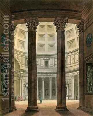 Interior of the Pantheon Rome by (after) Fumagalli - Reproduction Oil Painting