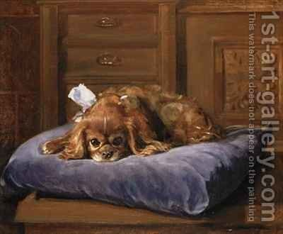 King Charles Spaniel by C. Fulton - Reproduction Oil Painting