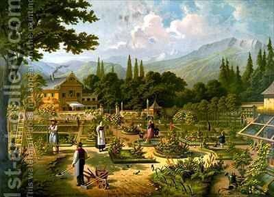 Gardening in Switzerland by Bernard Frohlich - Reproduction Oil Painting