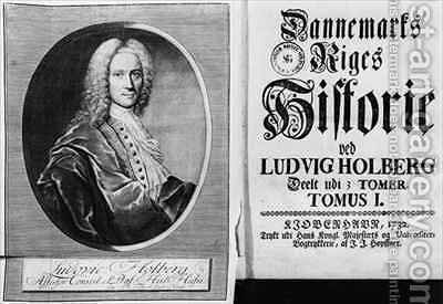 Baron Ludvig Holberg 1684-1754 and the title page of Volume I of his History of Denmark by Christian Friedrich Fritzsch - Reproduction Oil Painting