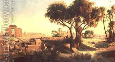 Egyptian Ruins by Johann Jakob Frey - Reproduction Oil Painting