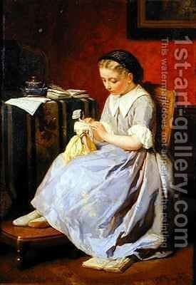 Girl in a Blue Dress by J. Frayer - Reproduction Oil Painting