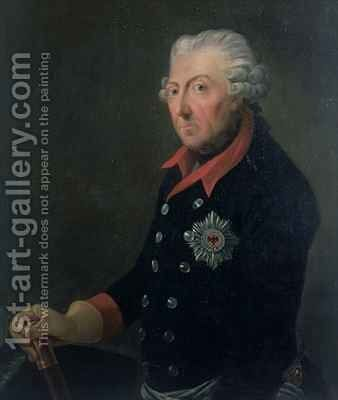 Friedrich the Great 1712-86 Wearing the Uniform of the 15th Infantry Regiment by J.H.C. Franke - Reproduction Oil Painting