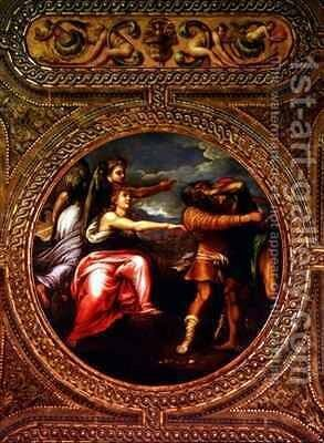 Allegory of Speed Toil and Exercise from the ceiling of the library by Battista Franco - Reproduction Oil Painting