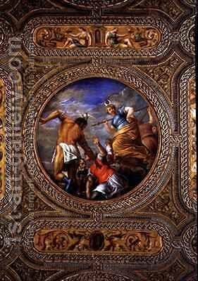 Diana and Actaeon from the ceiling of the library by Battista Franco - Reproduction Oil Painting