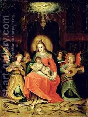 The Virgin Mary with Child and Music playing Angels by (after) Frans II the Younger - Reproduction Oil Painting