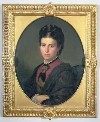 Portrait of Emilia Sampieri by Alessandro Franchi - Reproduction Oil Painting