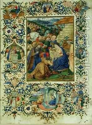 The Adoration of the Magi surrounded by medallions depicting episodes from the life of the Virgin and a prophet by d'Antonio del Chierico (or Cherico) Francesco - Reproduction Oil Painting