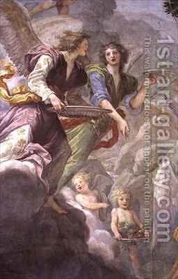 Christ served by Angels by Baldassarre Franceschini - Reproduction Oil Painting