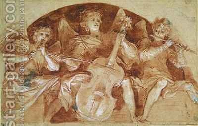 Three Angel Musicians by Baldassarre Franceschini - Reproduction Oil Painting