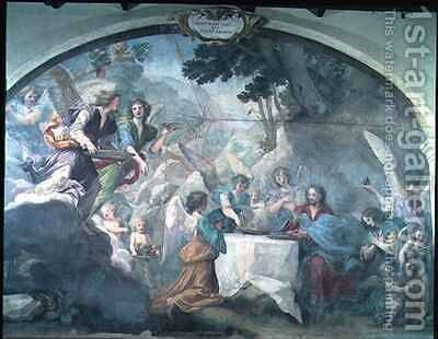 Christ served by Angels 2 by Baldassarre Franceschini - Reproduction Oil Painting