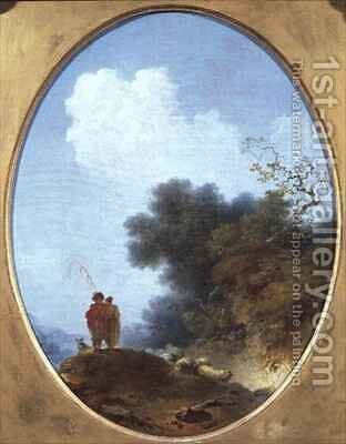 A Shepherd Playing the Flute Whilst a Peasant Girl Listens by Jean-Honore Fragonard - Reproduction Oil Painting